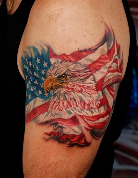 New Eagle Fire Fighter Tattoo On Shoulder