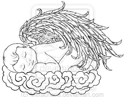 Attractive Baby Angel Tattoo DesignBaby Angel Outline