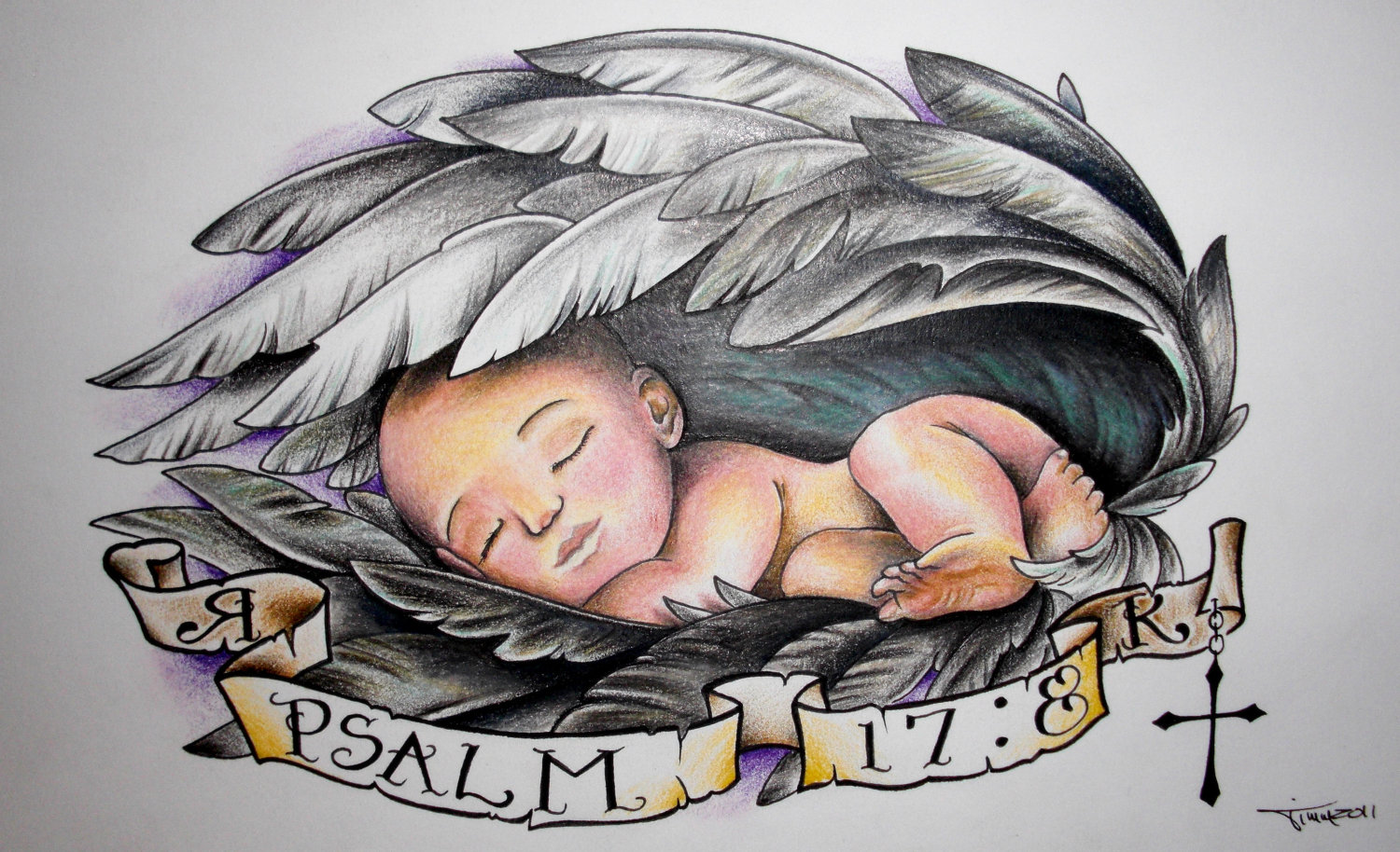 Banner And Baby Angel Tattoo Design