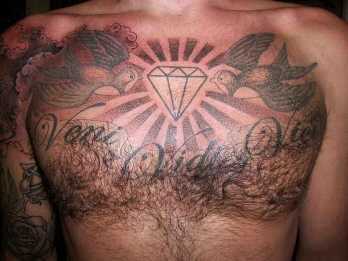 Abstract Color Angel Chest Tattoo For Men