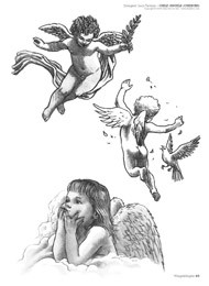 Grey Ink Baby Baby Angel Tattoos Designs