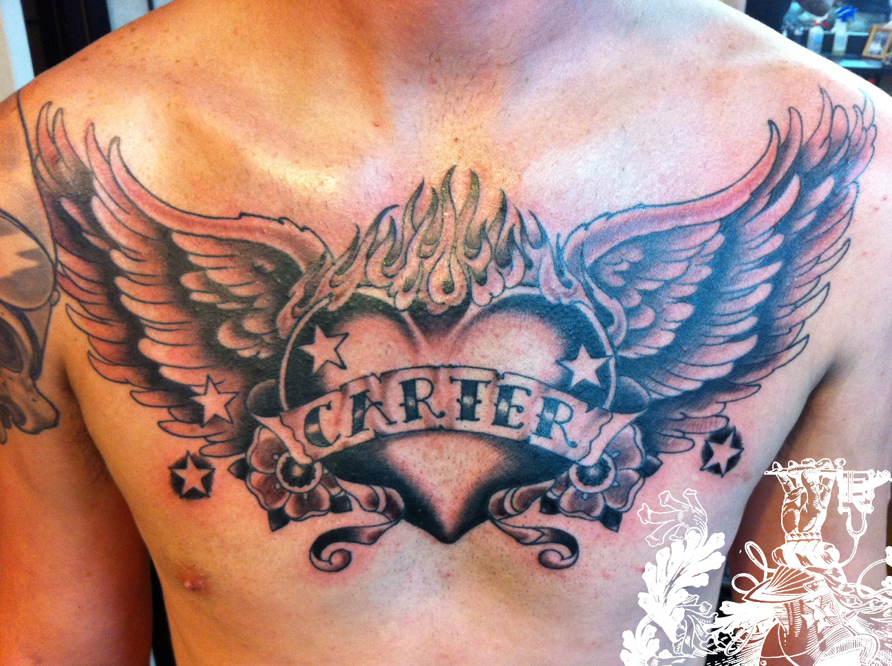 Angel chest tattoo images designs for Chest tattoo drawings