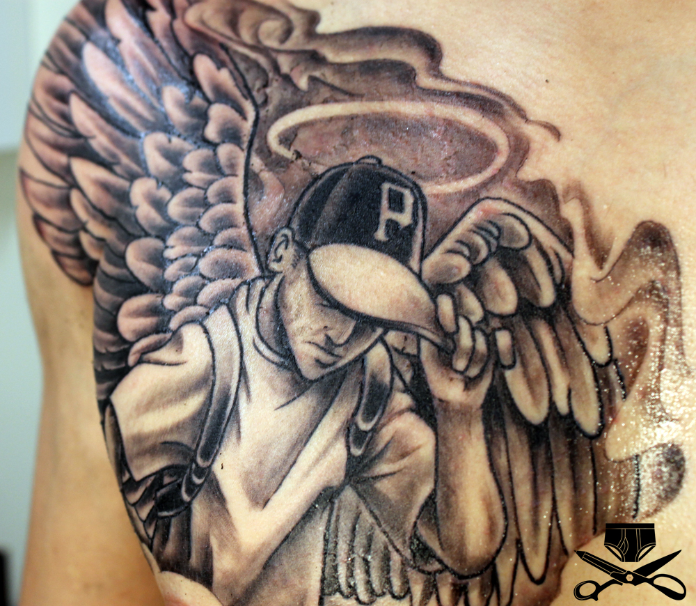 Urban Ink Thigh Tattoos Grey ink urban angel chestGhetto Urban Tattoo Designs