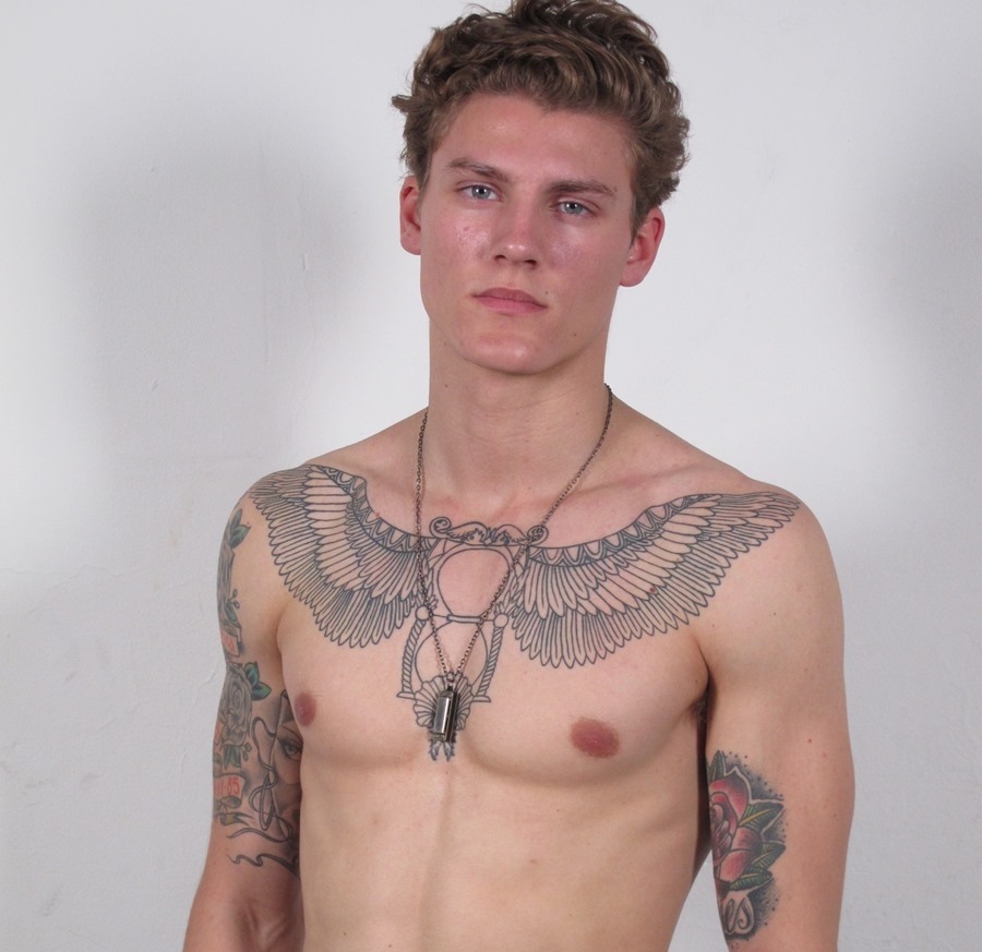Egyptian Winged Angel Chest Tattoo