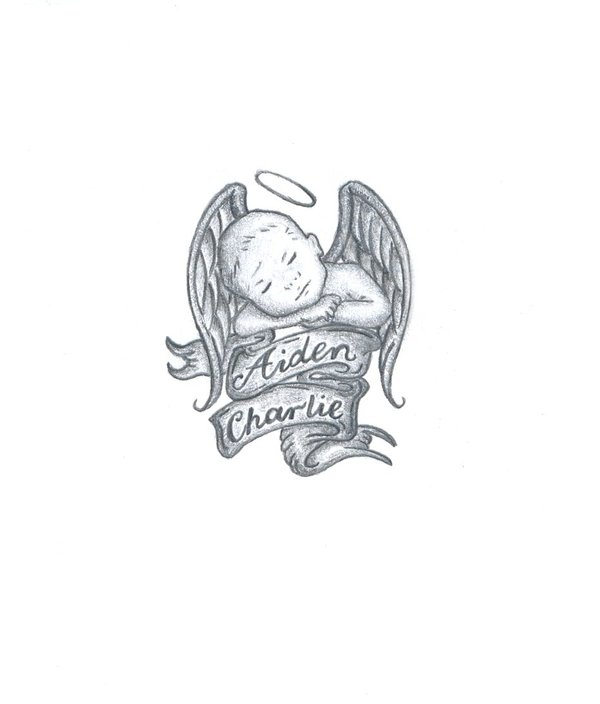 Tattoo Lettering And Baby Angel Design