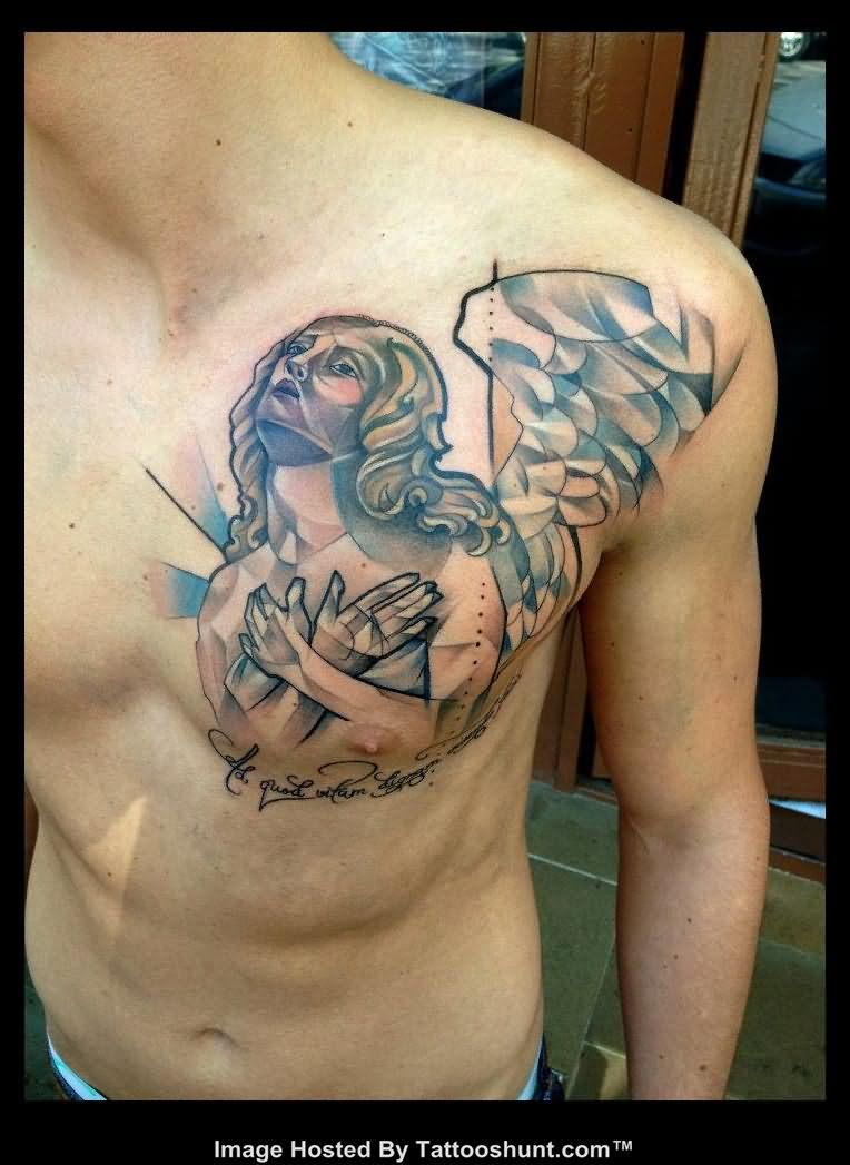 angel chest tattoo images designs