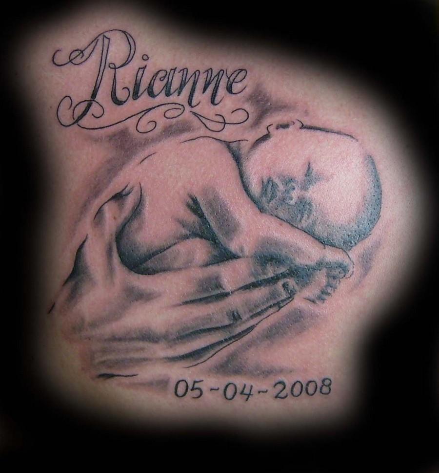c170dcd76 Memorial Baby Angel In Hands Tattoo Design