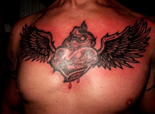 Sacred Heart Angel Chest Tattoo