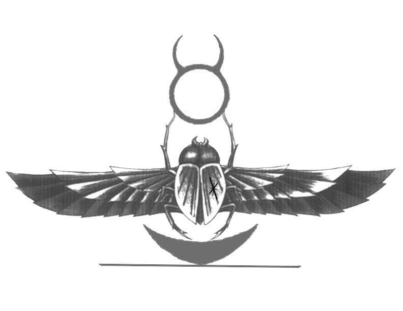 Egyptian Scarab Beetle Tattoo On Upperback