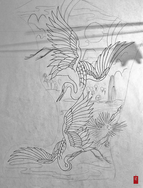 japanese crane tattoo designs. Black Bedroom Furniture Sets. Home Design Ideas