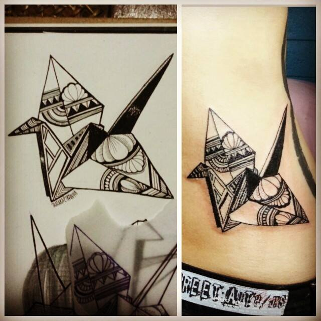 Crane tattoo images designs for Paper crane tattoo