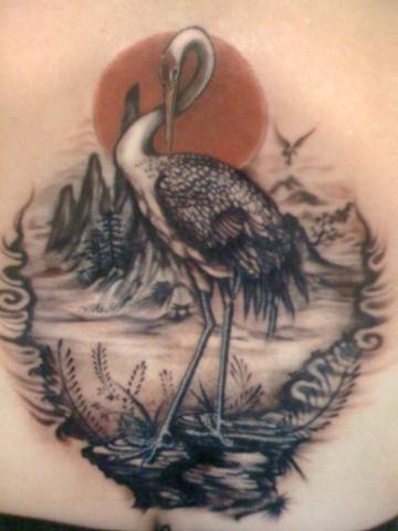 Crane Tattoo Images & Designs - photo#44