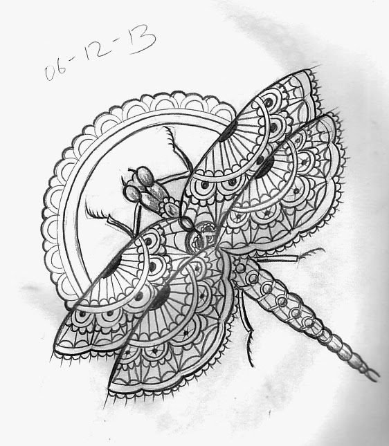 Moth Wings Dragonfly Beetle Tattoo Design