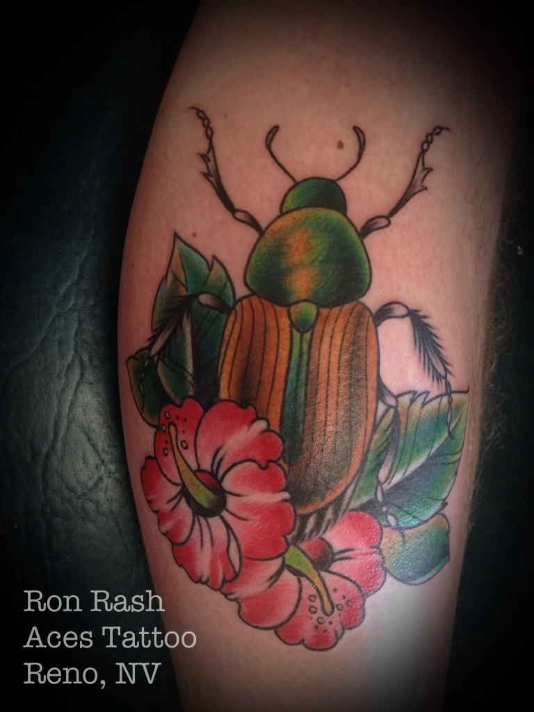 Red Flowers And Green Beetle Tattoo Design