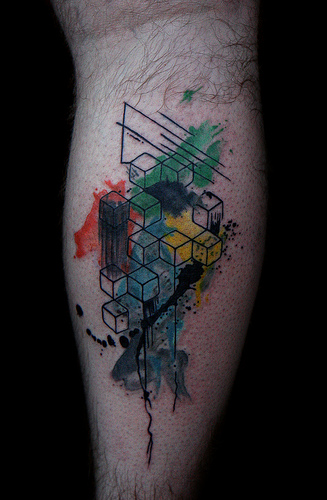 abstract geometric tattoo on back leg. Black Bedroom Furniture Sets. Home Design Ideas