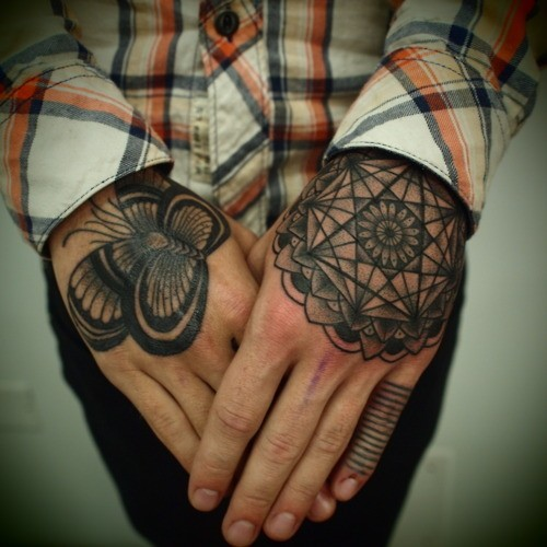 Geometric tattoo images designs for Flower tattoos on hand