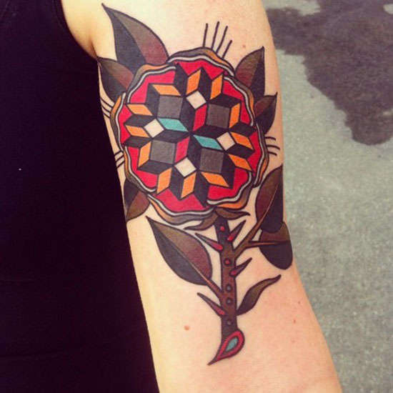 geometric flower tattoo color - photo #2