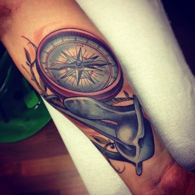 Forearm Compass Tattoo: Colored Geometric Compass Tattoo On Forearm