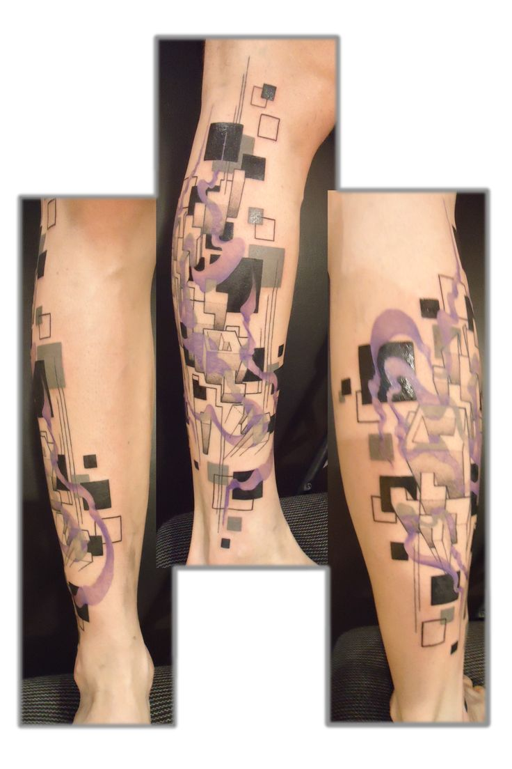 Geometric Tattoo On Girl Left Foot African Lion Footprints