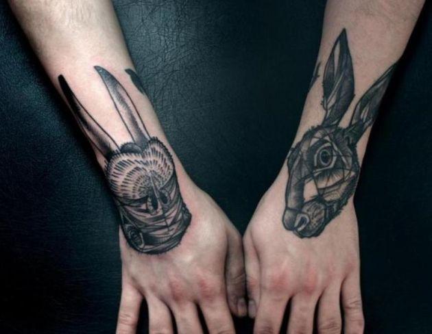 Geometric Tattoos On Both Hands