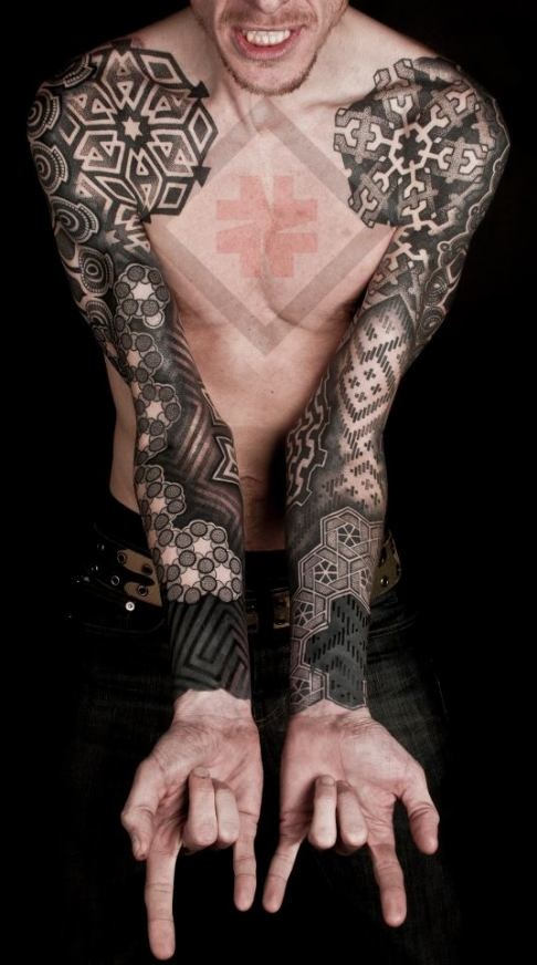Geometric Flower Tattoo Sleeve: Geometric Tattoo Images & Designs