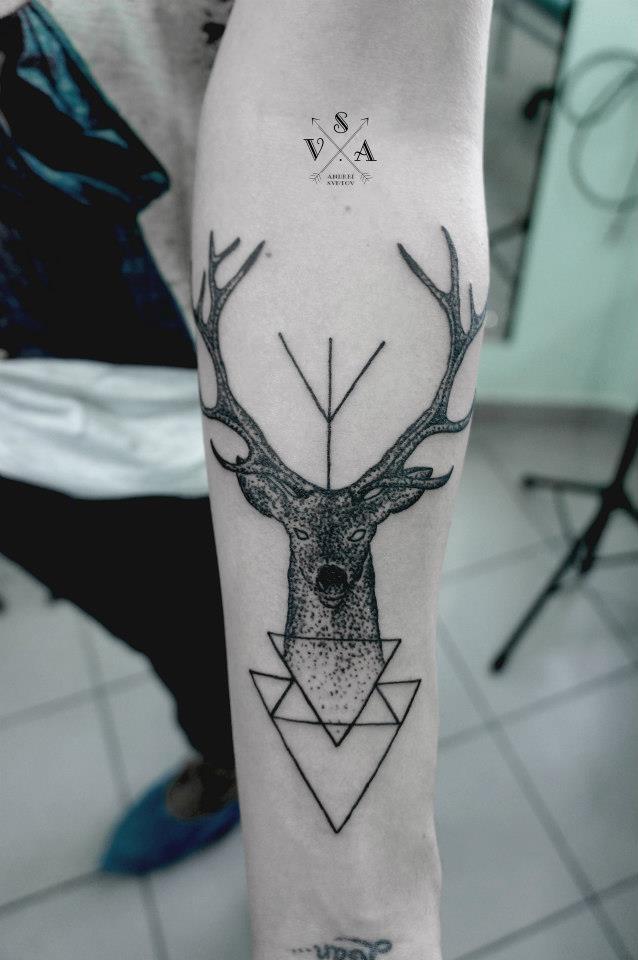Grey Ink Geometric Dotwork Deer Tattoo On Arm