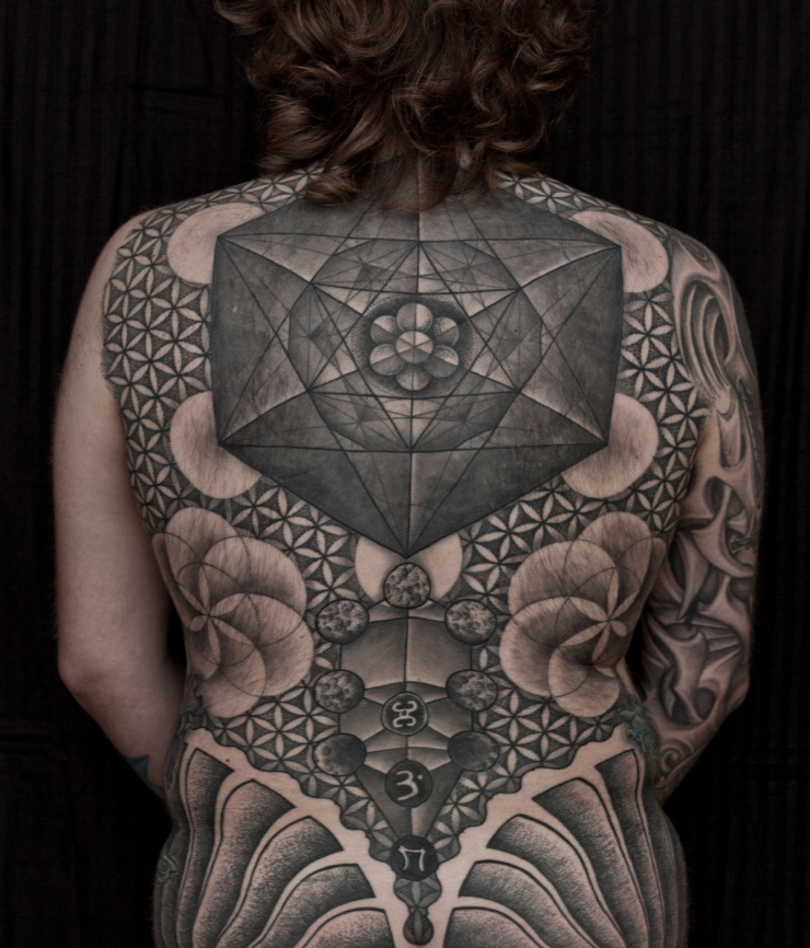 Geometric tattoo images designs for Full back tattoos women
