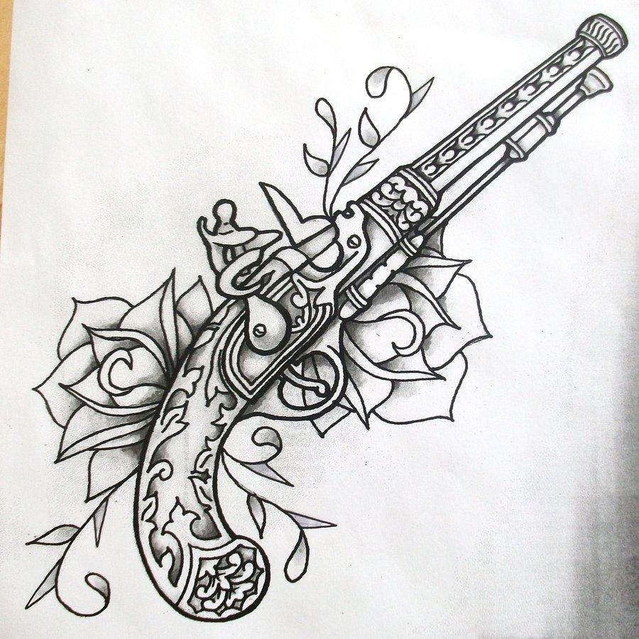 Amazing Gun Tattoo Design For
