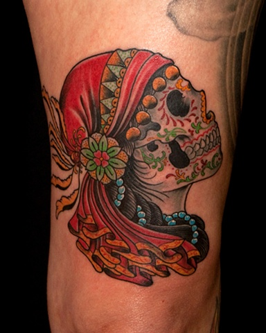 Gypsy tattoo images designs for Color skull tattoos