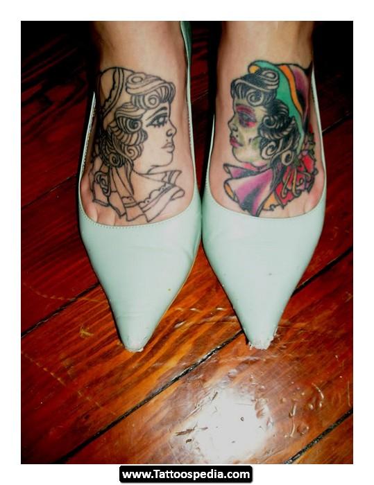 Colored Gypsy Tattoos On Both Feet