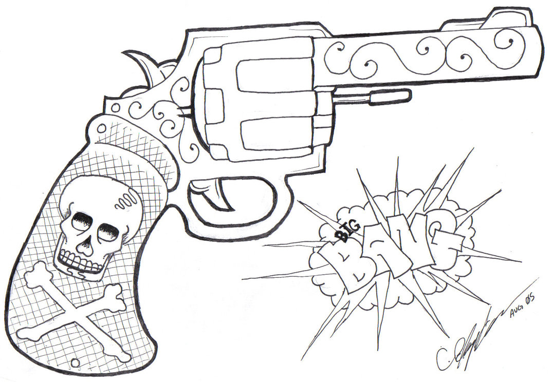 Danger skull gun tattoo design
