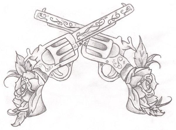 Flowers And Guns Tattoos Designs