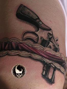 Gun Thigh Tattoo