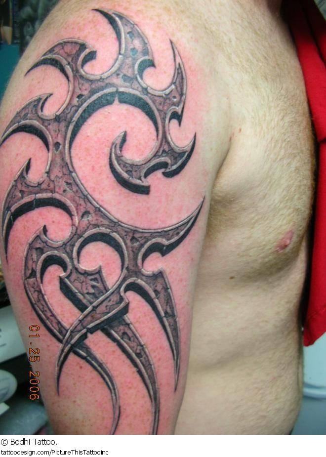 3d tribal half sleeve tattoo for men. Black Bedroom Furniture Sets. Home Design Ideas