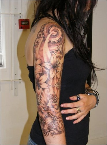 Amazing Grey Ink Flowers Half Sleeve Tattoo For Girls