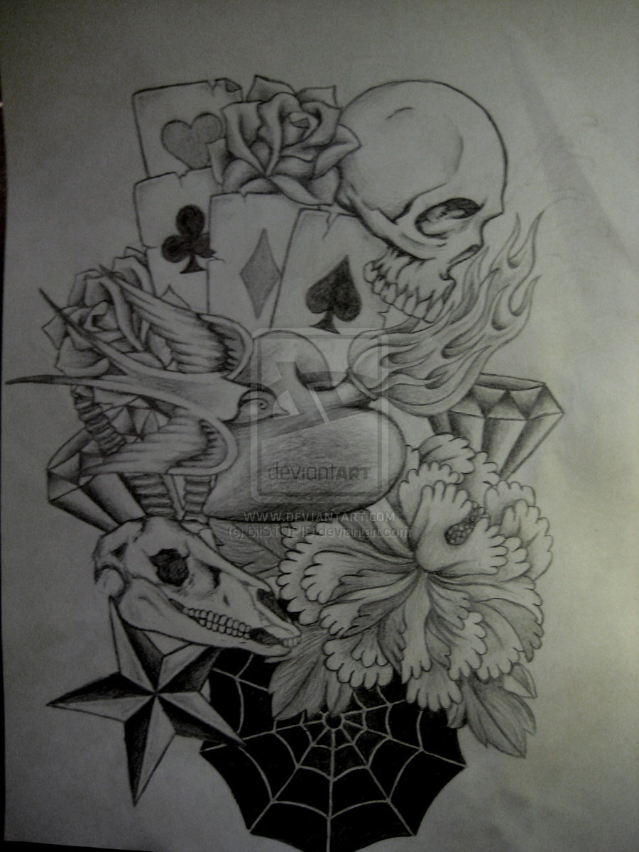 sleeve sketches tribal tattoo Flaming Cards Design And Sleeve Birds Half Skull With Tattoo