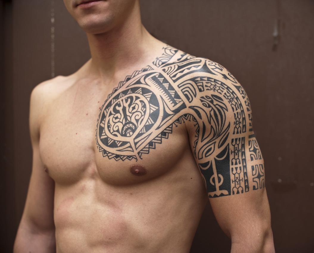 Black Ink Samoan Tribal Half Sleeve Tattoo