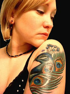 Colored Peacock Half Sleeve Tattoo