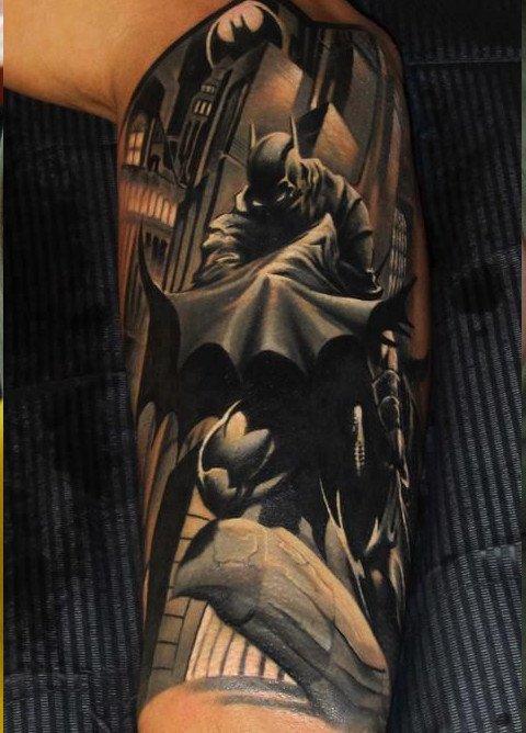 Dark Ink Half Sleeve Tattoo