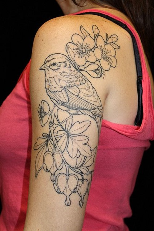 Grey Flowers and Bird Half Sleeve Tattoo For Girls
