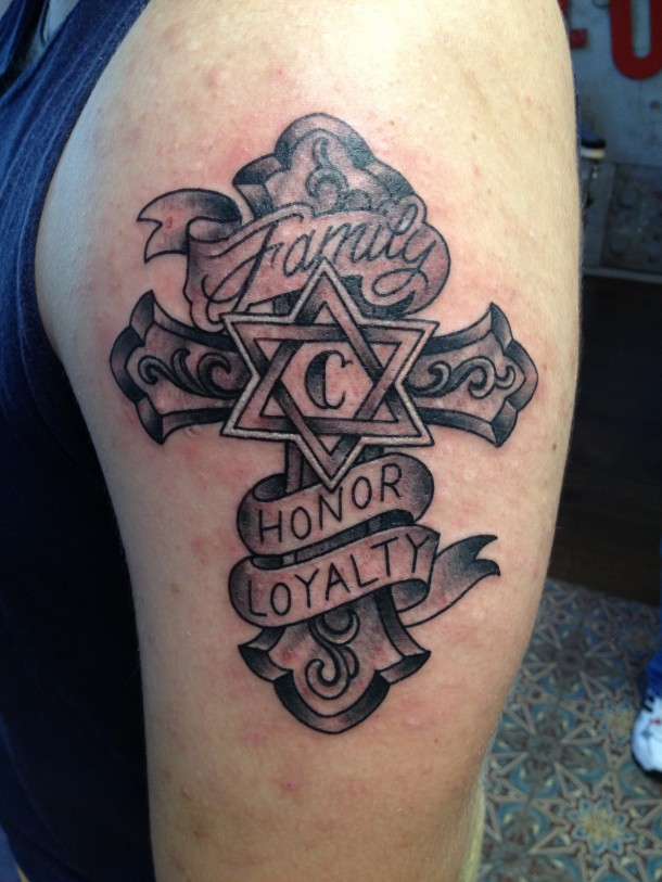 Grey Ink Cross Left Half Sleeve Tattoo