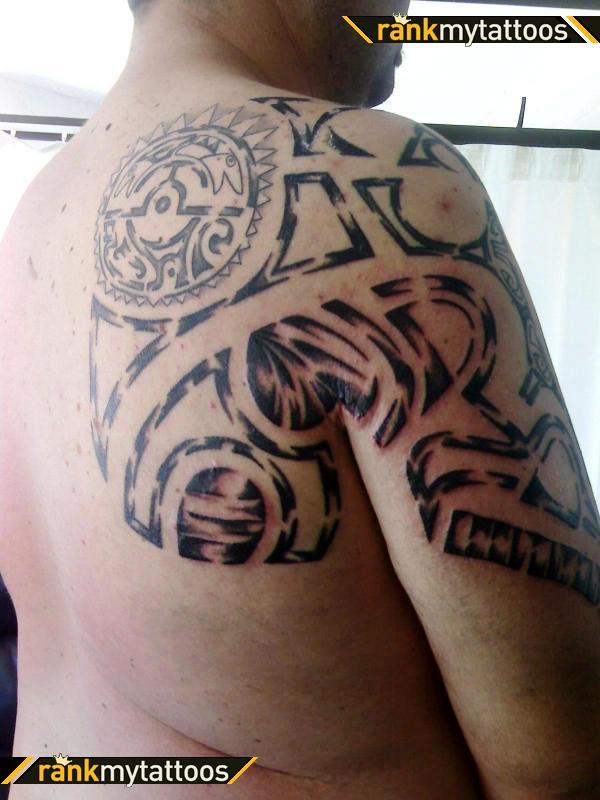 f855942fd39b9 Maori Tribal Right Half Sleeve Tattoo For Men