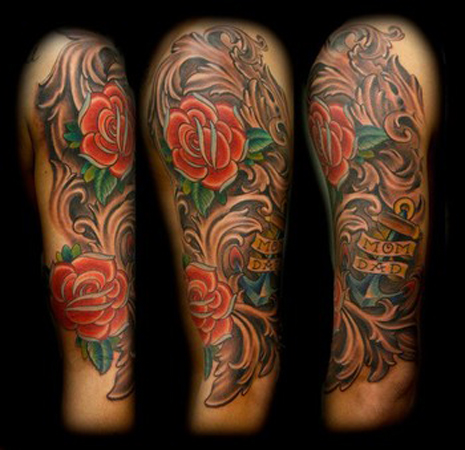 Red Flower Half Sleeve Tattoo Design