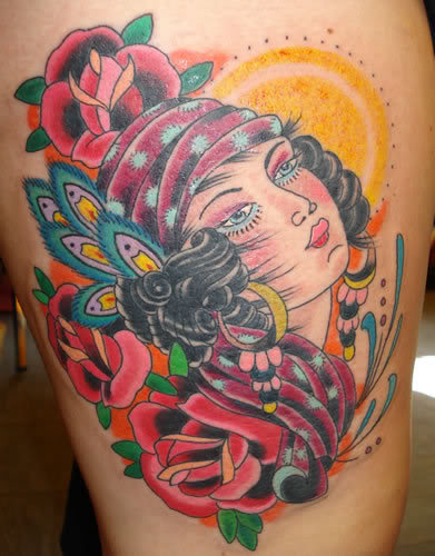 Red Flowers And Gypsy Head Tattoo