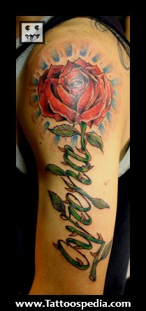 Red rose Flower Half Sleeve Tattoo