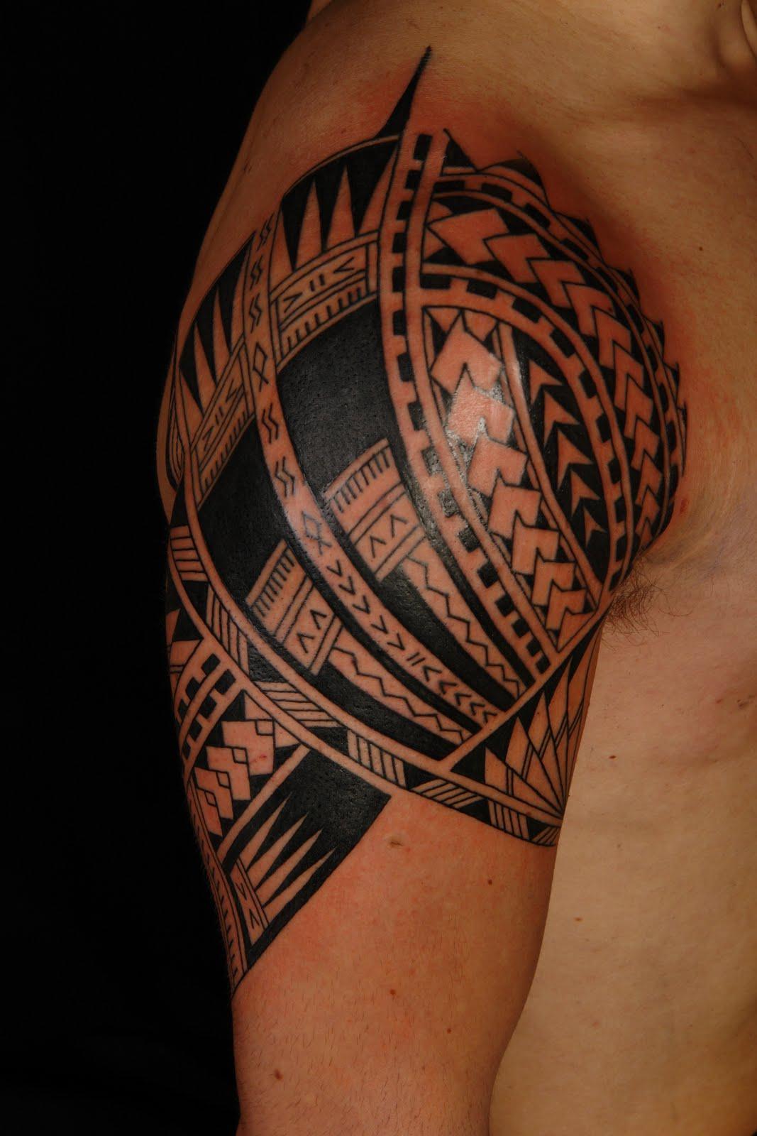 African Tribal Tattoo Half Sleeve: Samoan Half Sleeve And Chest Tattoo For Men