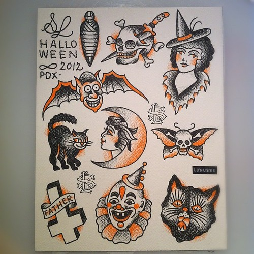 small halloween tattoos design. Black Bedroom Furniture Sets. Home Design Ideas