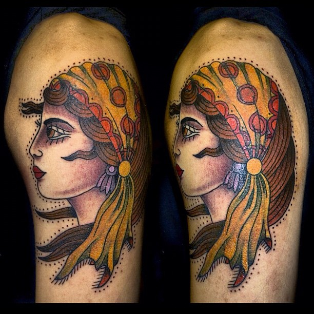Traditional Gypsy Tattoo On Half Sleeve