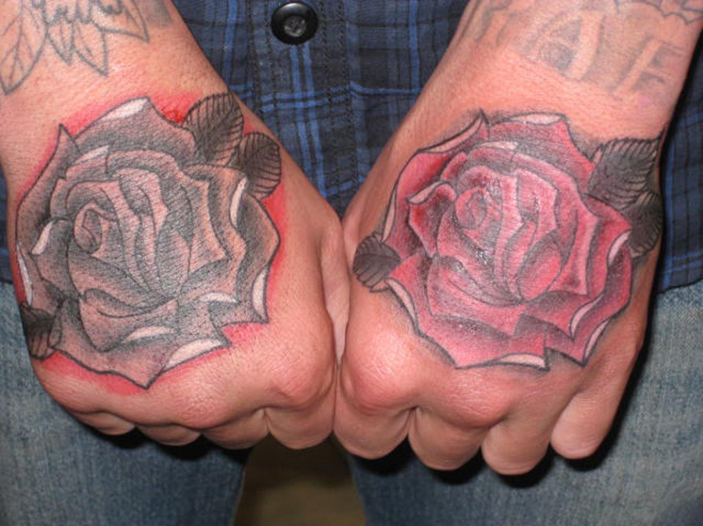8d2a4011f Amazing Grey Ink Rose Flowers Hand Tattoos
