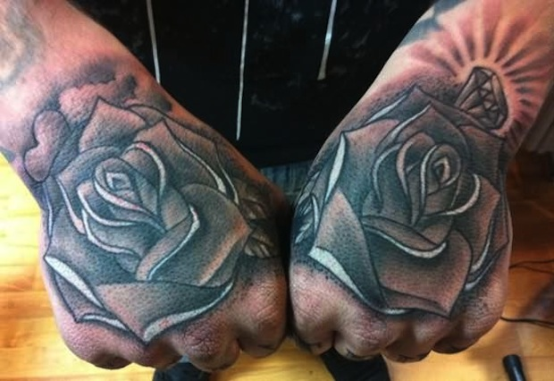 5738e01a0 Attractive Grey Ink Rose Flower Hand Tattoo
